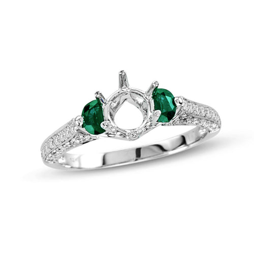 Half-Moon Emerald and 1/4 CT. T.W. Diamond Semi-Mount Engagement Ring in 14K White Gold