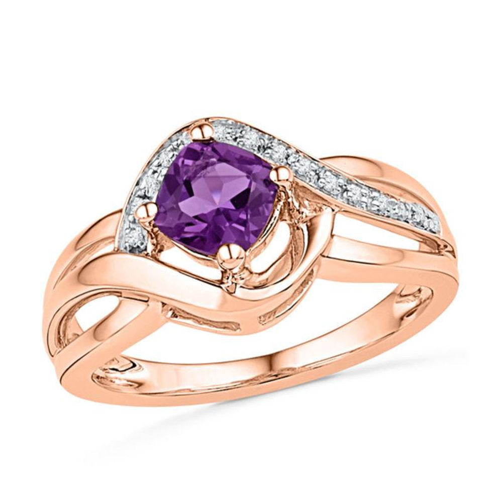 5.0mm Cushion-Cut Amethyst and Diamond Accent Ring in 14K pink gold
