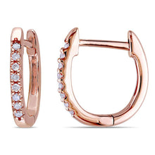 Load image into Gallery viewer, 1/10 CT. T.W. Diamond Huggie Hoop Earrings in 10K Rose Gold