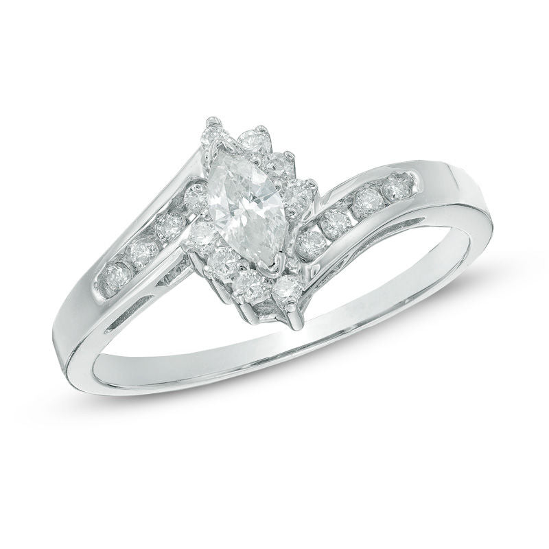 1 3 CT Marquise Diamond Frame Bypass Engagement Ring in 14K White gold