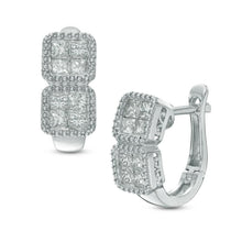 Load image into Gallery viewer, 1-1/6 CT. T.W. Quad Princess-Cut Diamond Hoop Earrings in 10K White Gold