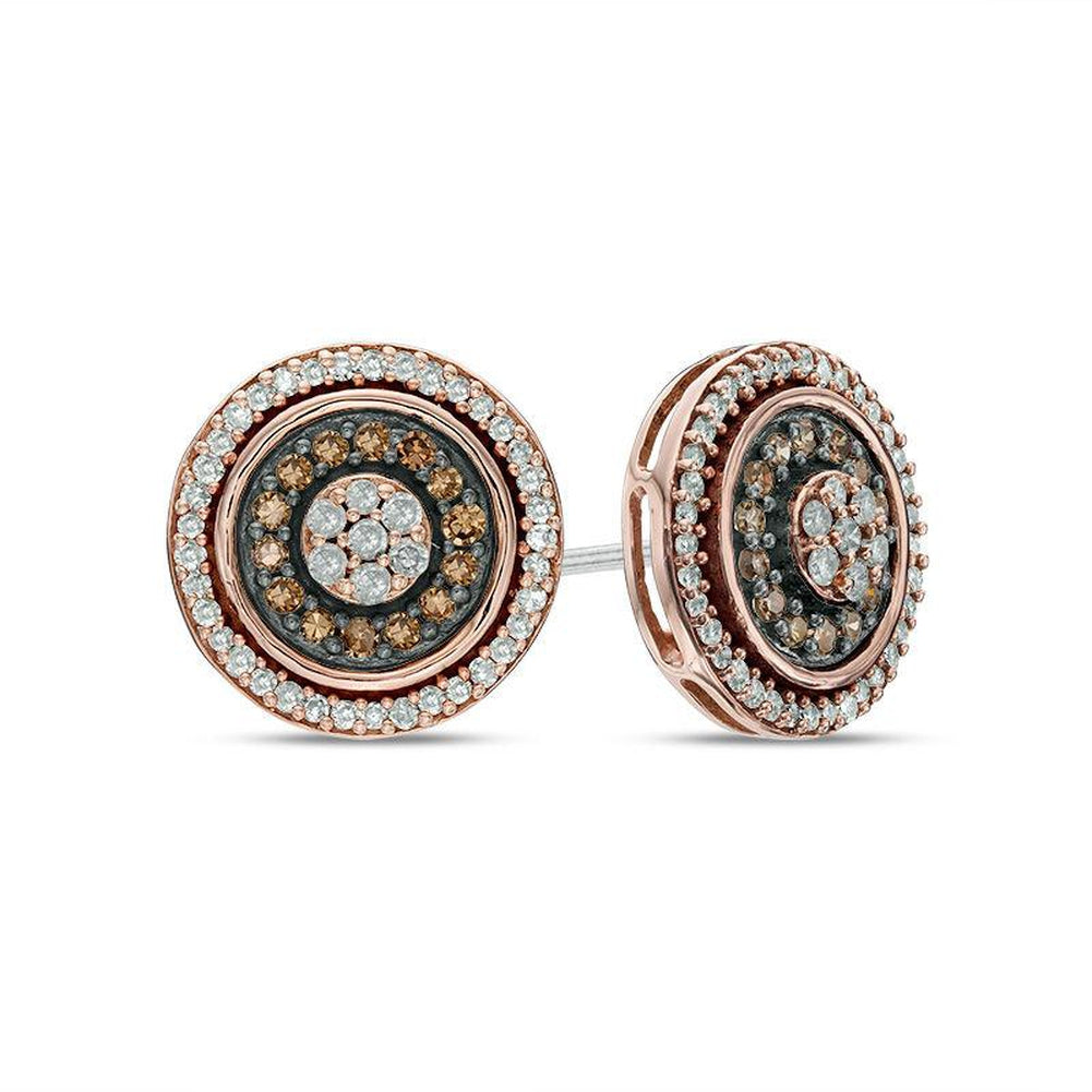 1/2 CT. T.W. Champagne and White Diamond Double Frame Cluster Stud Earrings in 10K Rose Gold