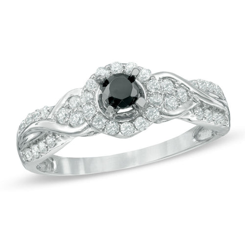 1/2 CT. T.W. Enhanced Black and White Diamond Tri-Sides Engagement Ring in 10K White Gold