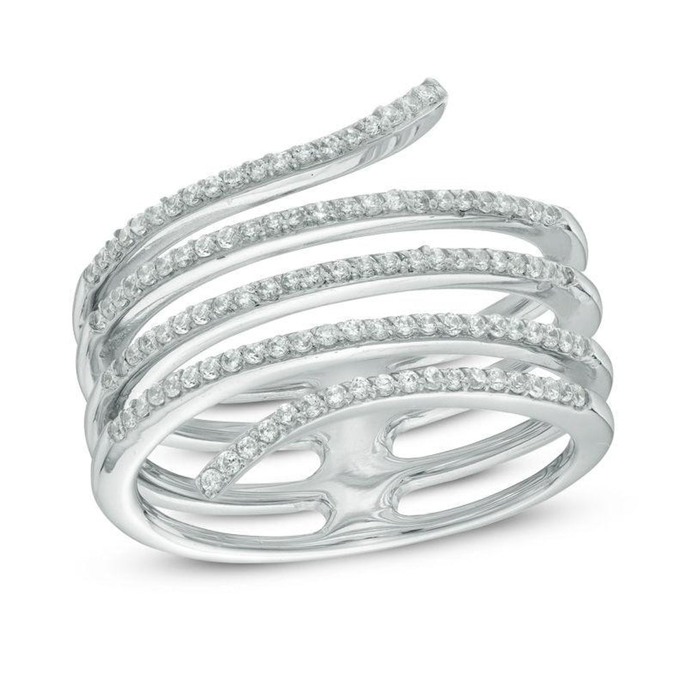 1 4 CT Diamond Multi-Row Spiral Ring in 14K White gold - Size 7