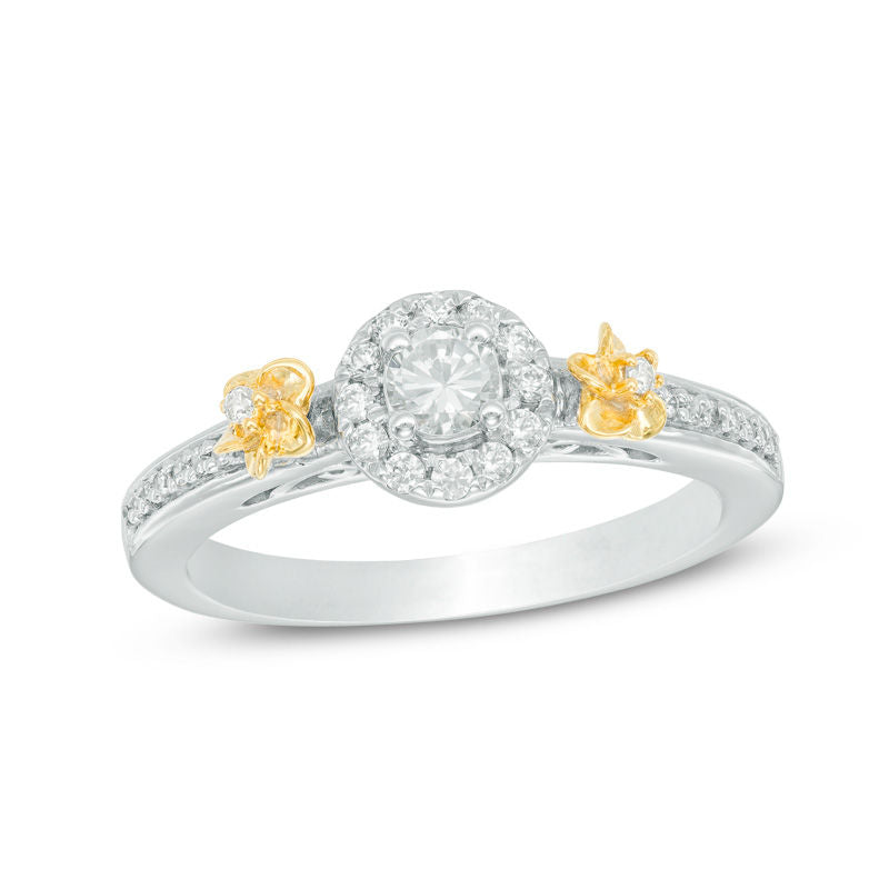1 3 CT Diamond Frame Flower Engagement Ring in 14K Two-Tone gold
