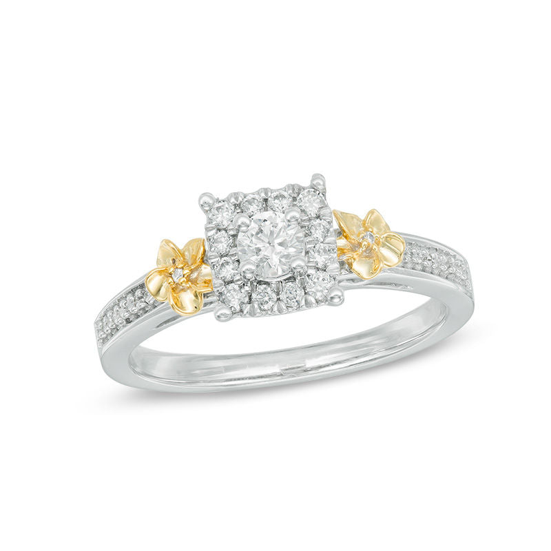 1 3 CT Diamond Square Frame Double Flower Ring in 14K Two-Tone gold