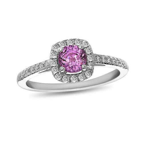 5.0mm Pink Sapphire and 1/4 CT. T.W. Diamond Cushion Frame Engagement Ring in 14K White Gold