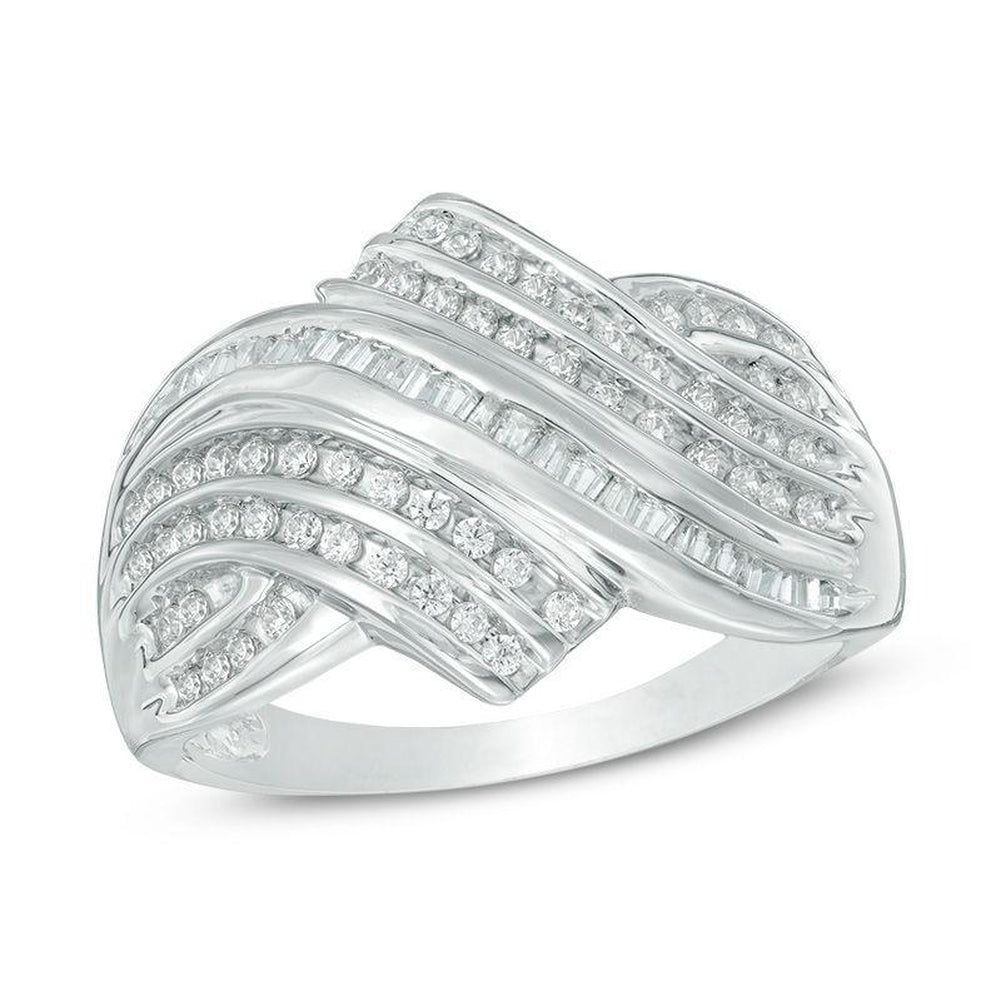 1 2 CT Diamond Layered Bypass Ring in 14K White gold