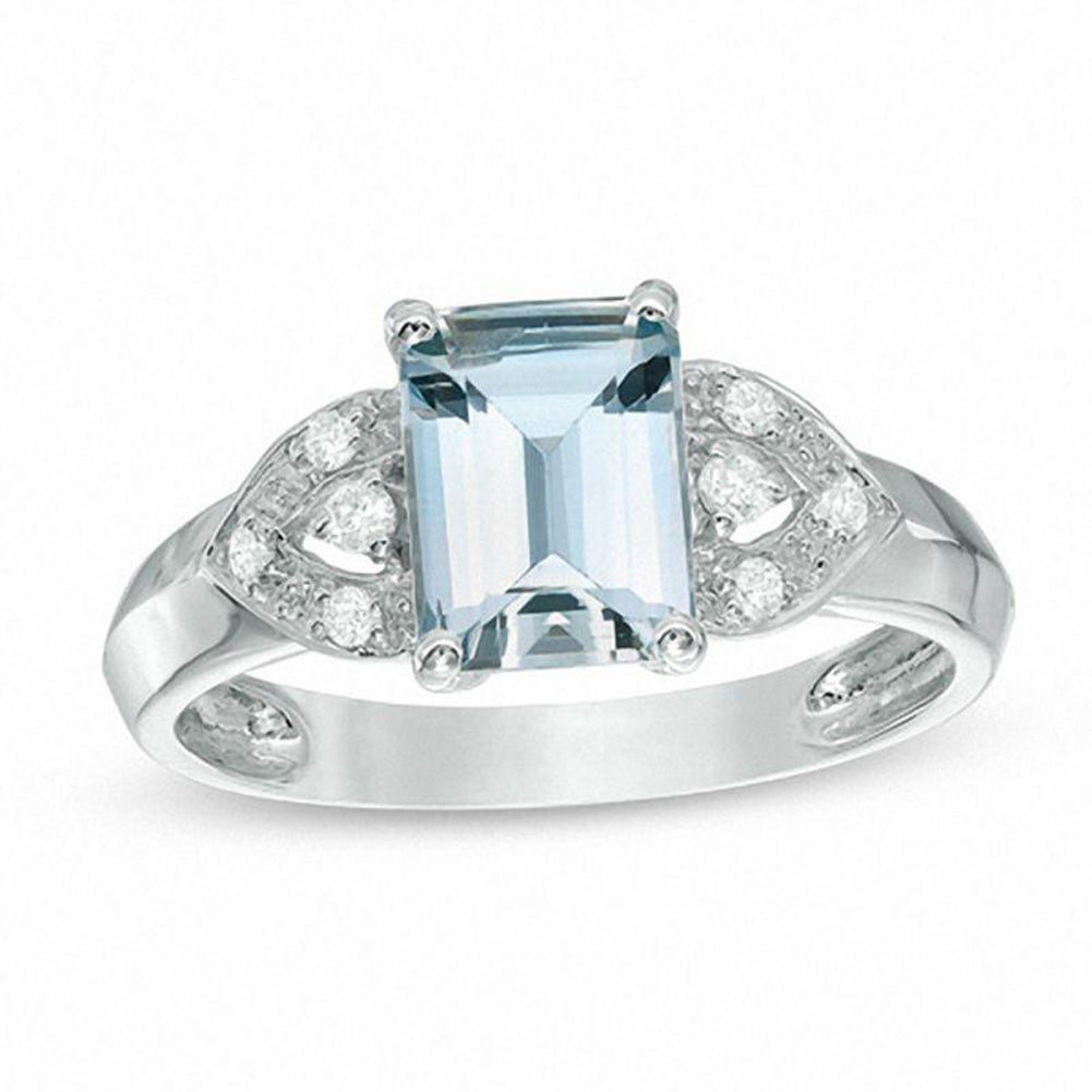 Emerald-Cut Aquamarine and Diamond Accent Petal Ring in 14K White gold