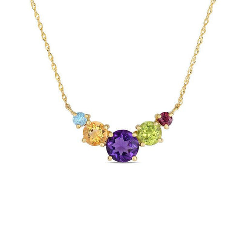Multi-Gemstone Five Stone Necklace in 10K Gold