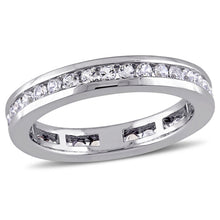 Load image into Gallery viewer, Lab-Created White Sapphire Channel-Set Eternity Band in 10K White Gold
