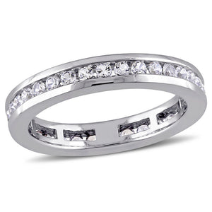Lab-Created White Sapphire Channel-Set Eternity Band in 10K White Gold