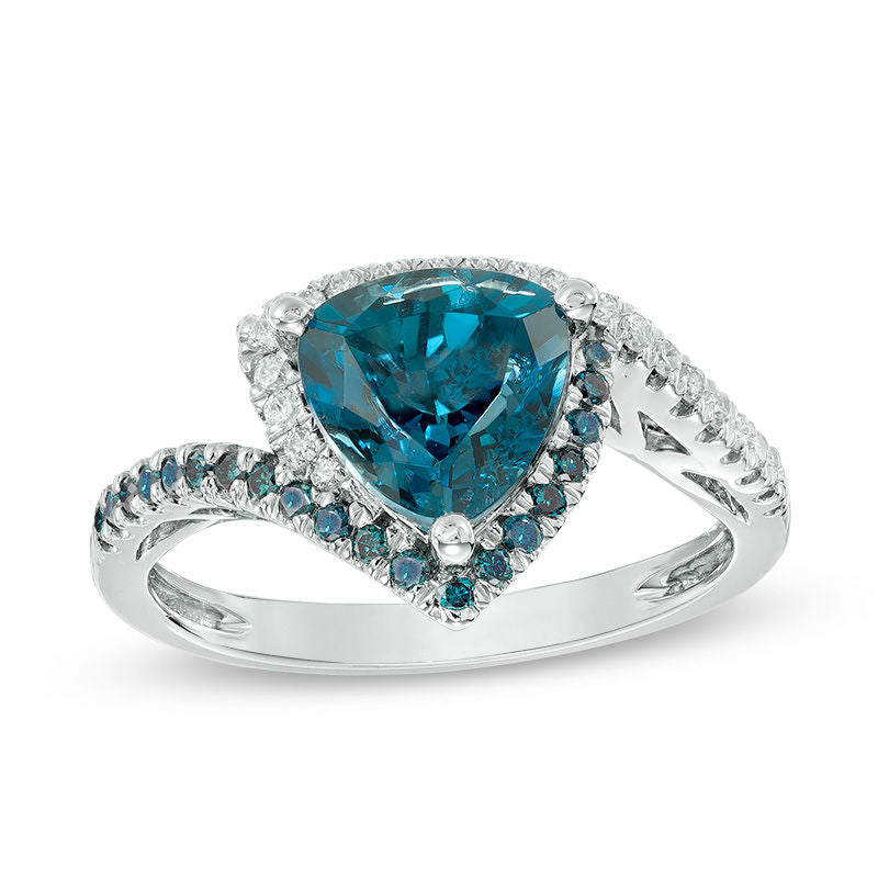 8.0mm Trillion-Cut London Blue Topaz and 1/4 CT. T.W. Enhanced Blue and White Diamond Bypass Ring in 10K White Gold