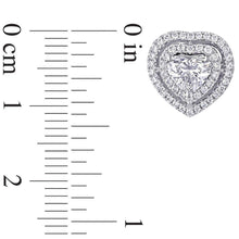 Load image into Gallery viewer, 1-1/2 CT. T.W. Heart-Shaped Diamond Frame Stud Earrings in 14K White Gold