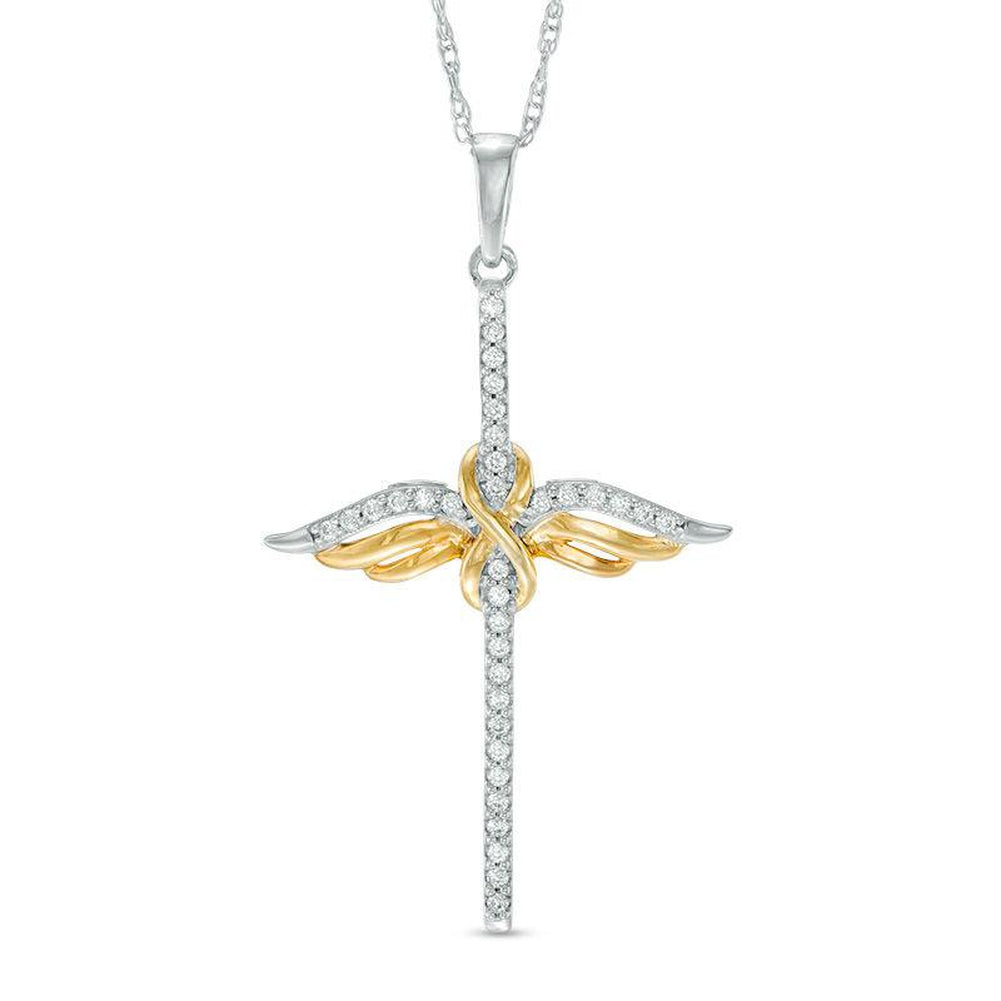 1/10 CT. T.W. Diamond Infinity Winged Cross Pendant in 10K White Gold and Yellow Rhodium