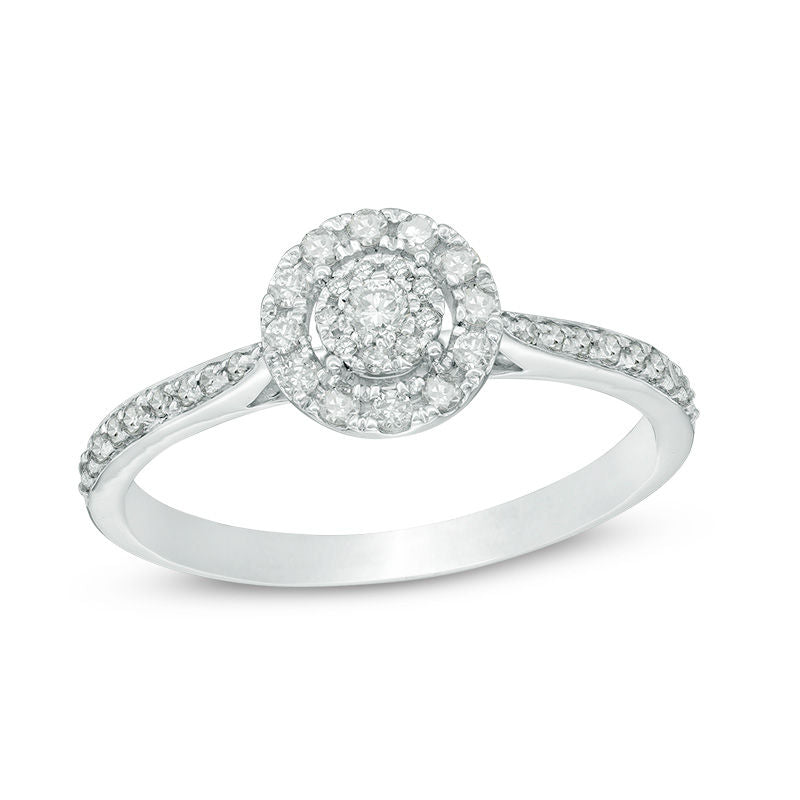 1 3 CT Composite Diamond Double Frame Engagement Ring in 14K White gold