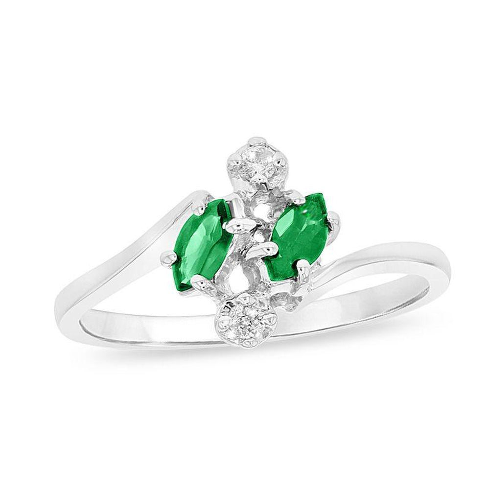 Marquise Emerald and Diamond Accent Bypass Ring in 14K White gold