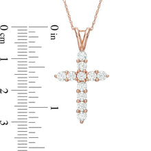 Load image into Gallery viewer, 1-1/4 CT. T.W. Diamond Cross Pendant in 14K Rose Gold