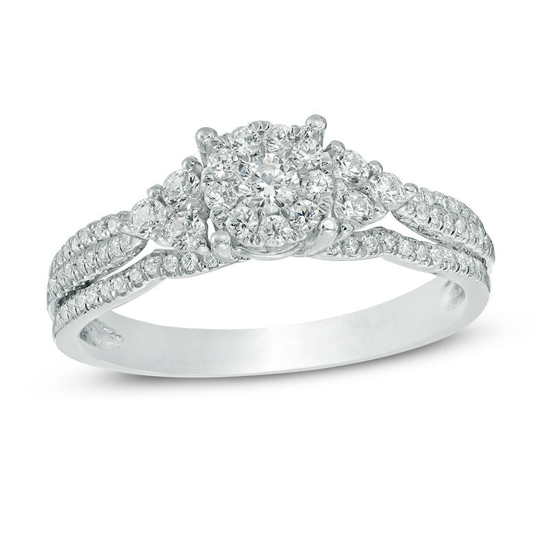 1 2 CT Composite Diamond with Tri-Sides Engagement Ring in 14K White gold