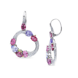 Multi-Gemstone Cluster and 1-1/2 CT. T.W. Diamond Circle Drop Earrings in 14K White Gold