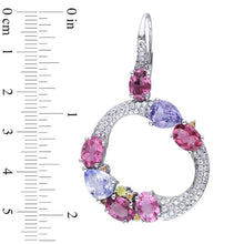 Load image into Gallery viewer, Multi-Gemstone Cluster and 1-1/2 CT. T.W. Diamond Circle Drop Earrings in 14K White Gold