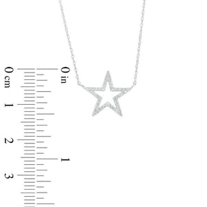 1/10 CT. T.W. Diamond Star Outline Necklace in 10K White Gold