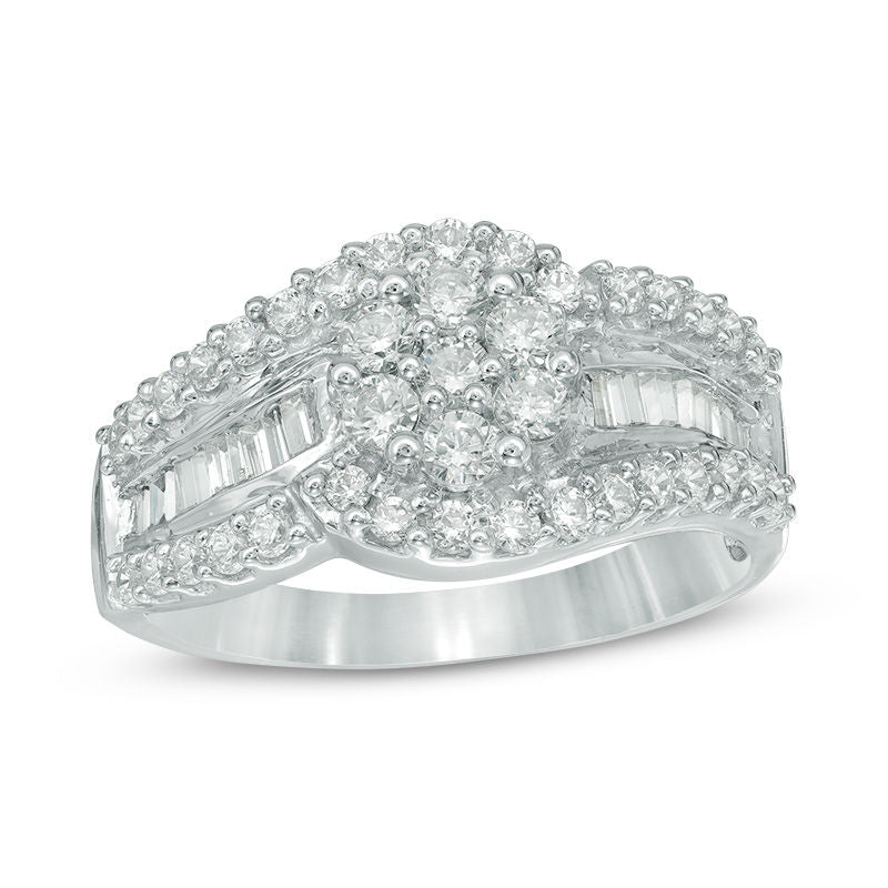 1 CT Composite Diamond Flower Bypass Ring in 14K White gold