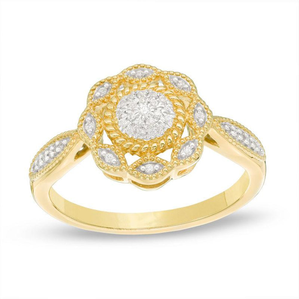 1 10 CT Composite Diamond Scallop Frame Ring in 14K gold