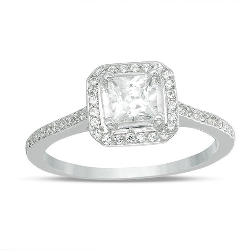 4.3mm Princess-Cut Lab-Created White Sapphire and 1/6 CT. T.W. Diamond Frame Engagement Ring in 10K White Gold