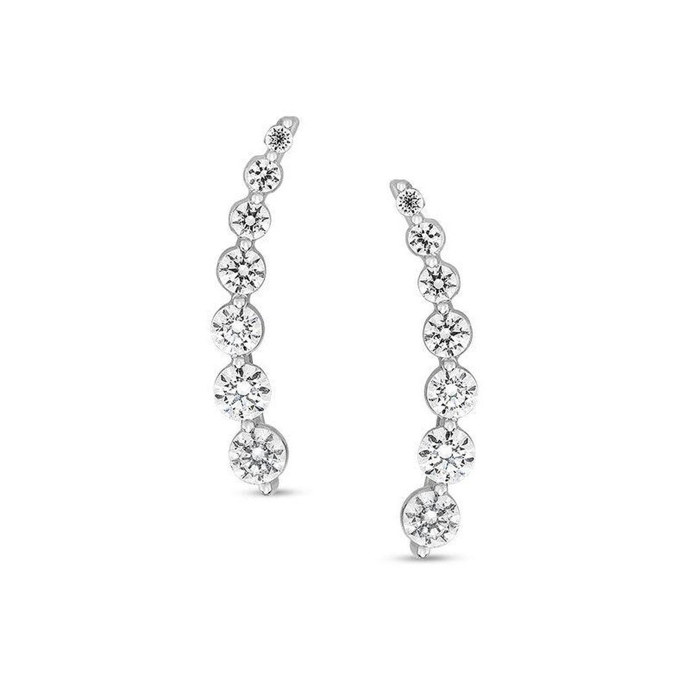 1-1/5 CT. T.W. Journey Diamond Crawler Earrings in 10K White Gold