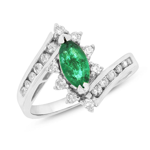 Marquise Emerald and 1/3 CT. T.W. Diamond Starburst Frame Bypass Ring in 14K White Gold