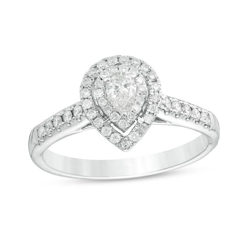1 2 CT Pear-Shaped Diamond Double Frame Engagement Ring in 14K White gold