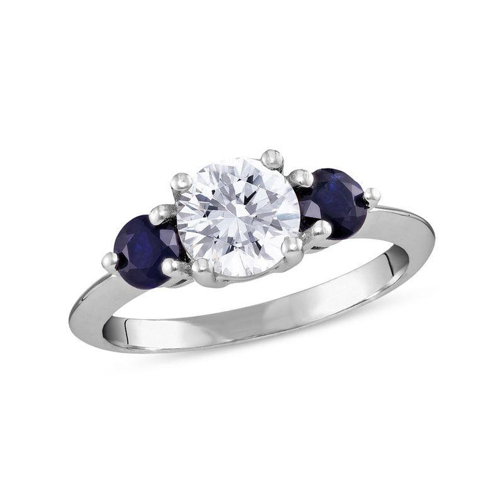 6.5mm White Topaz and bluee Sapphire Three Stone Ring in 14K White gold