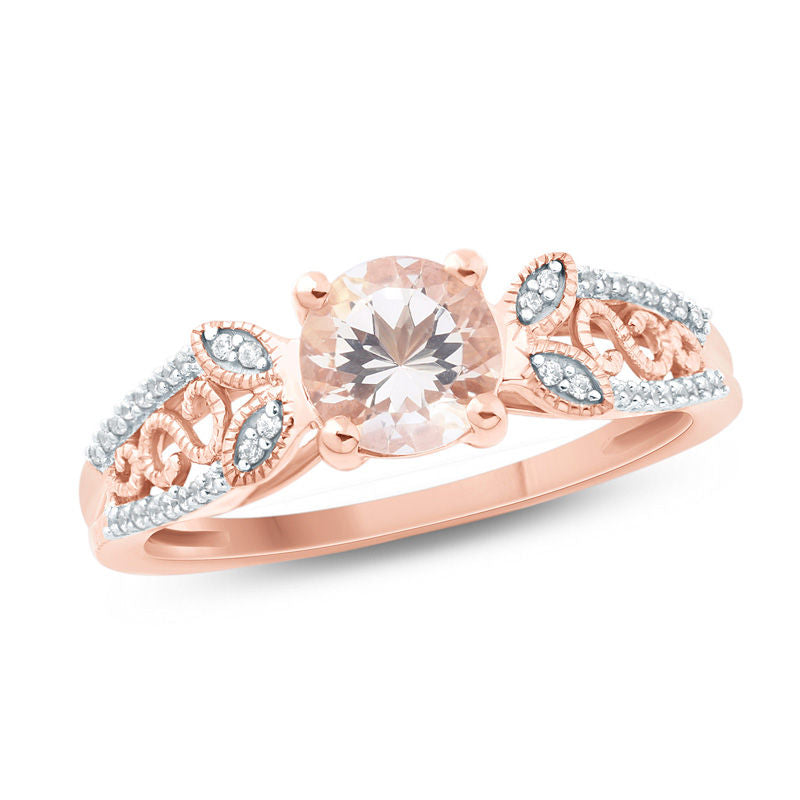 6.5mm Morganite and 1 10 CT Diamond Leaf-Sides Ring in 14K pink gold