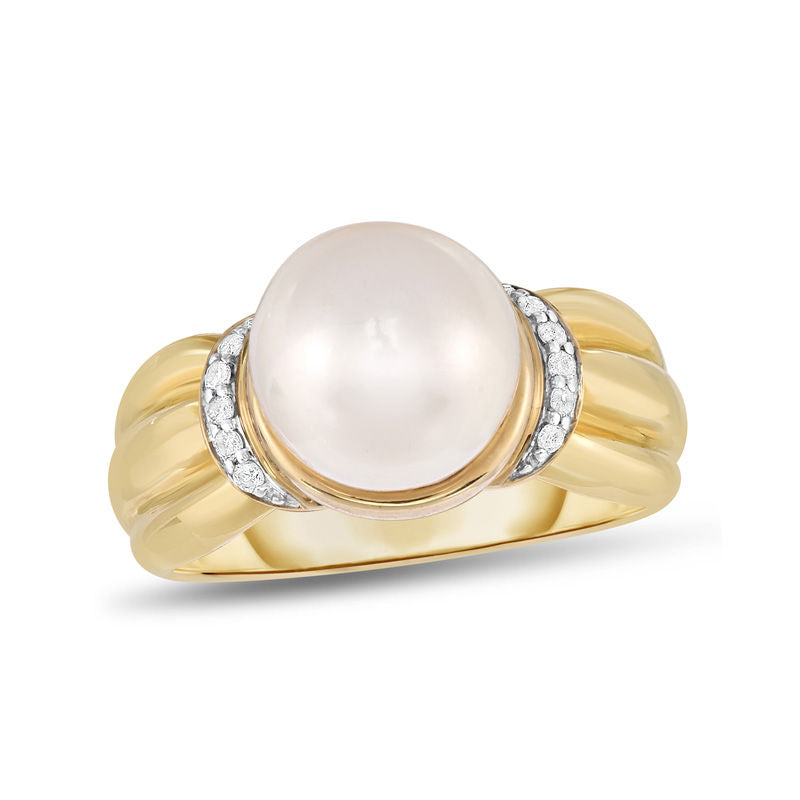 9.0mm Cultured Freshwater Pearl and 1 15 CT Diamond Ring in 14K gold