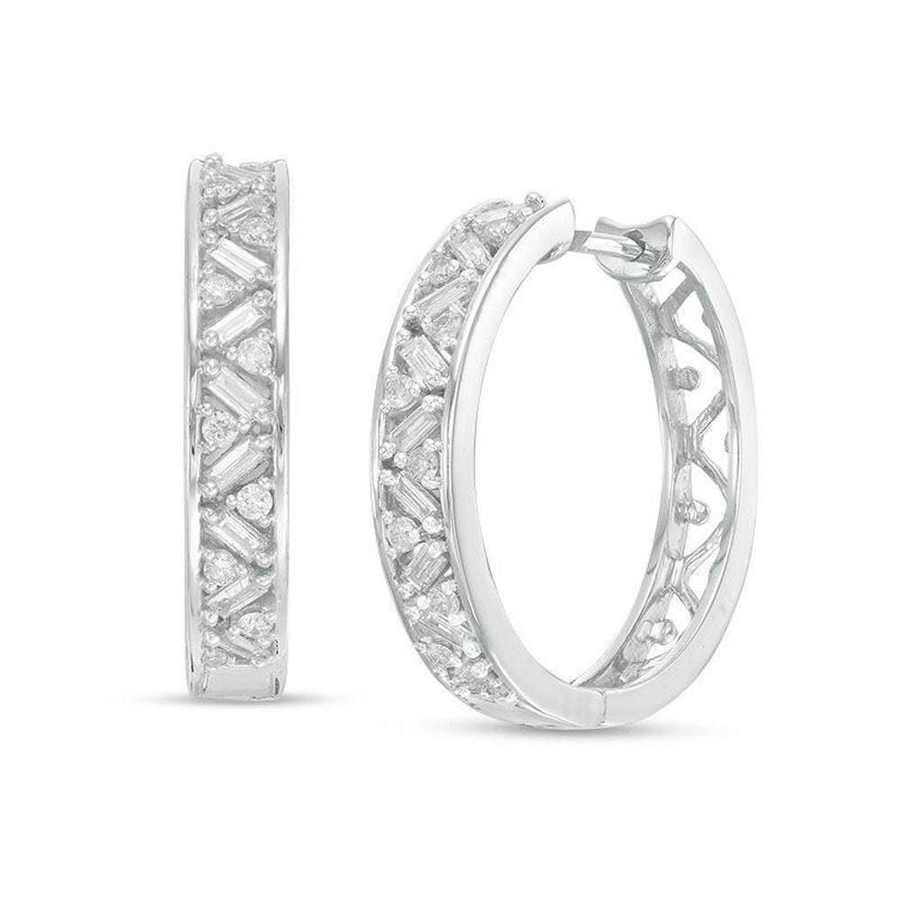 1/2 CT. T.W. Baguette and Round Diamond Hoop Earrings in 10K White Gold