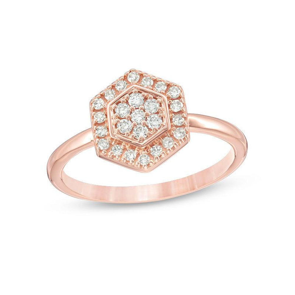 1 4 CT Composite Diamond Hexagon Frame Ring in 14K pink gold