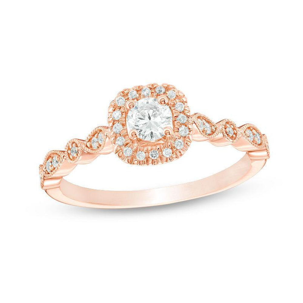 3 8 CT Diamond Cushion Frame Vintage-Style Engagement Ring in 14K pink gold