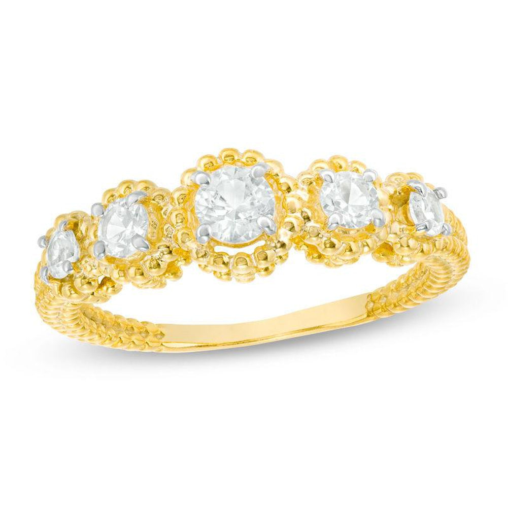 Lab-Created White Topaz Beaded Frame Five Stone Ring in 14K gold