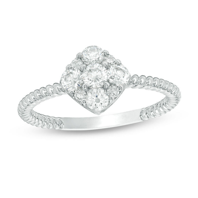 5 8 CT Diamond Tilted Cushion Frame Rope Twist Engagement Ring in 14K White gold