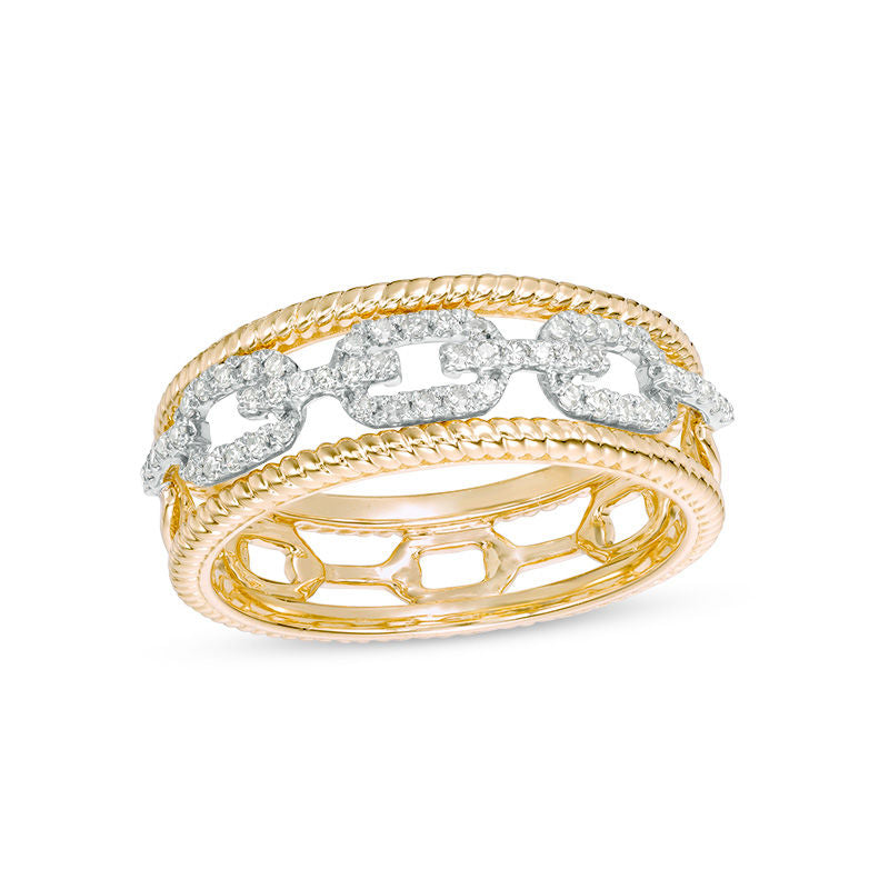 1 4 CT Diamond Chain Link Twist Rope-Edge Ring in 14K gold