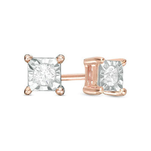 1/10 CT. T.W. Diamond Solitaire Square Stud Earrings in 10K Rose Gold