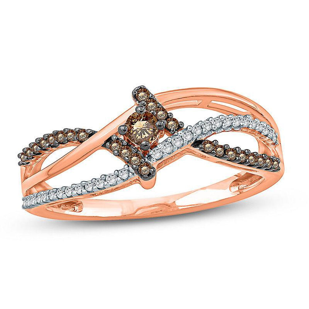 1 4 CT Champagne and White Diamond Bypass Promise Ring in 14K pink gold