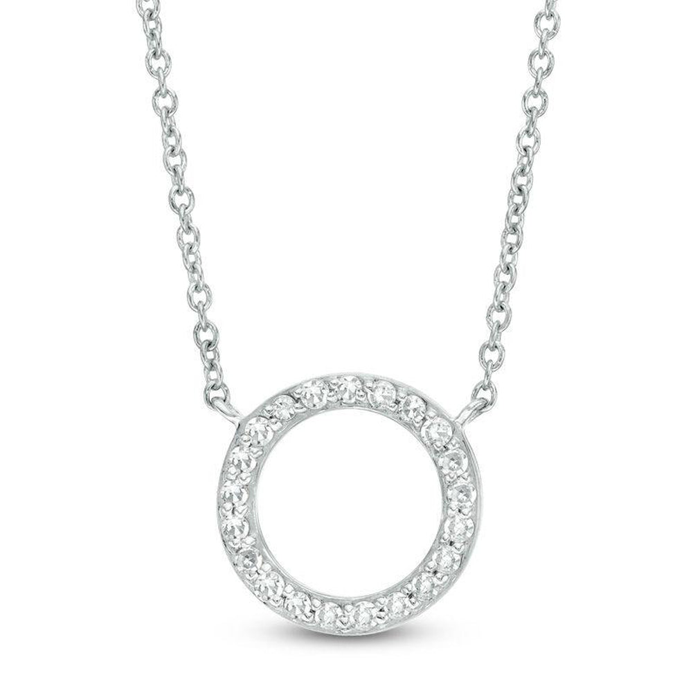 1/10 CT. T.W. Diamond Open Circle Necklace in 10K White Gold