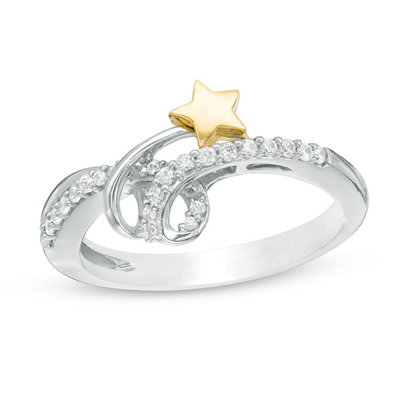 1 6 CT Diamond Spiral Shooting Star Ring in 14K Two-Tone gold