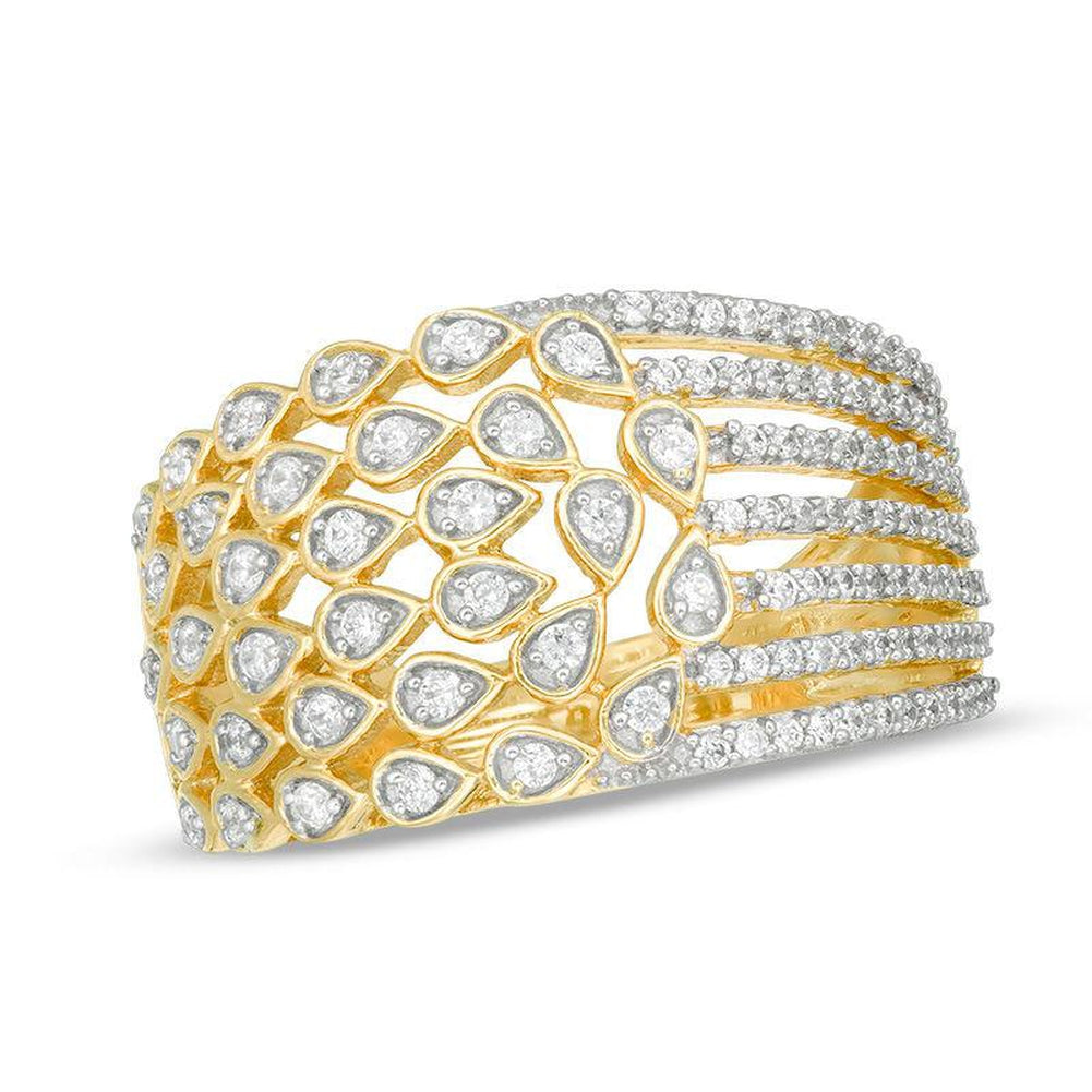 1 2 CT Diamond Multi-Row Teardrop and Ribbons Ring in 14K gold