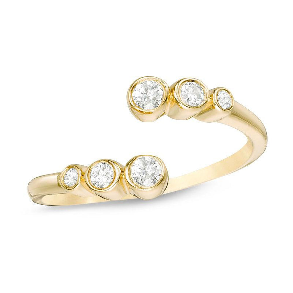 1 4 CT Diamond Bypass Adjustable Open Ring in 14K gold