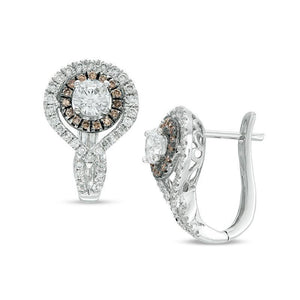 1-1/2 CT. T.W. Champagne and White Diamond Double Frame Twist Hoop Earrings in 14K White Gold