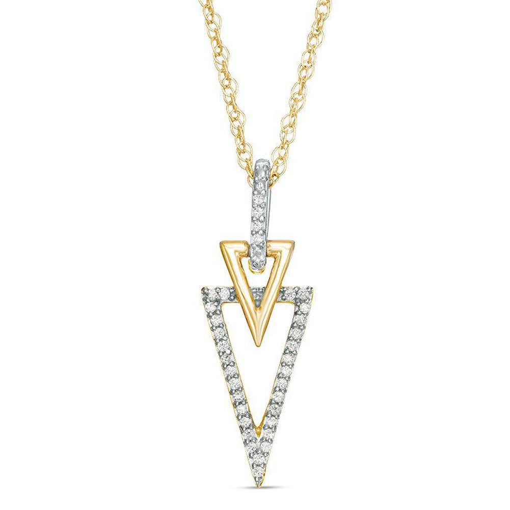 1/10 CT. T.W. Diamond Double Triangle Pendant in 10K Gold