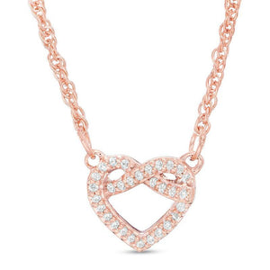 1/15 CT. T.W. Diamond Love Knot Heart Necklace in 10K Rose Gold - 17.6""